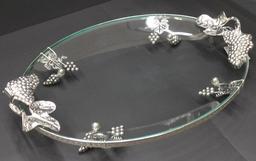 Dekoruotas ovalus stiklinis padėklas