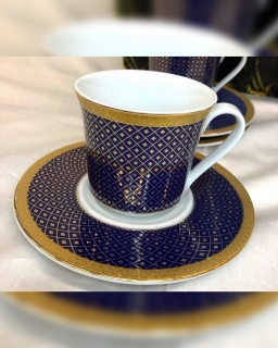 "Espresso puodelių komplektas ""Mėlyni su auksu"""